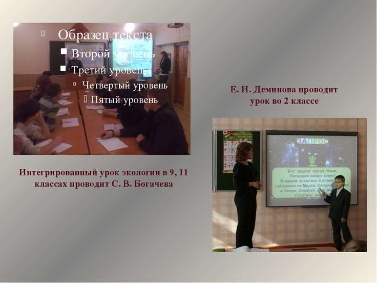 Интегрированный урок экологии в 9, 11 классах проводит С. В. Богачева Е. И. Д...