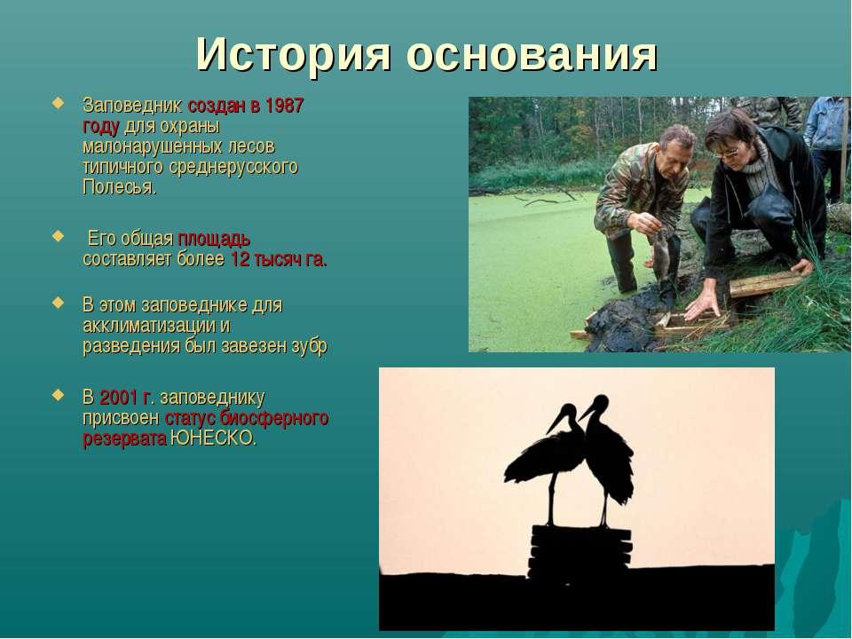 История основания Заповедник создан в 1987 году для охраны малонарушенных лес...