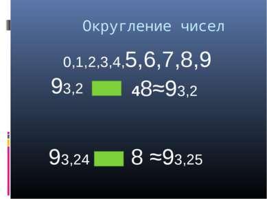 Округление чисел 48≈93,2 0,1,2,3,4,5,6,7,8,9 93,2 93,24 8 ≈93,25
