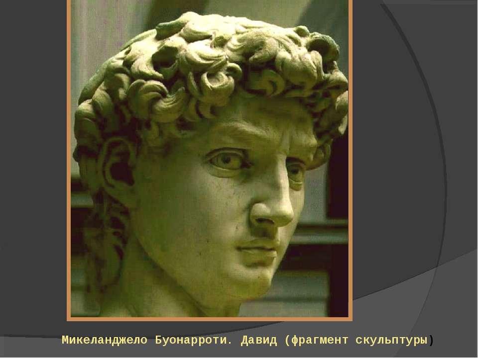 Микеланджело Буонарроти. Давид (фрагмент скульптуры)