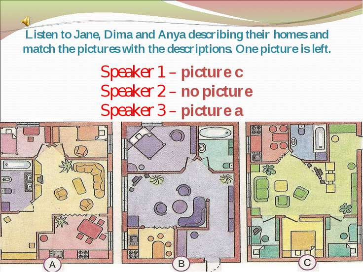 Listen to Jane, Dima and Anya describing their homes and match the pictures w...