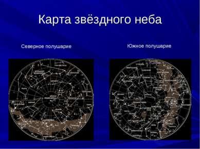 Карта звёздного неба Северное полушарие Южное полушарие