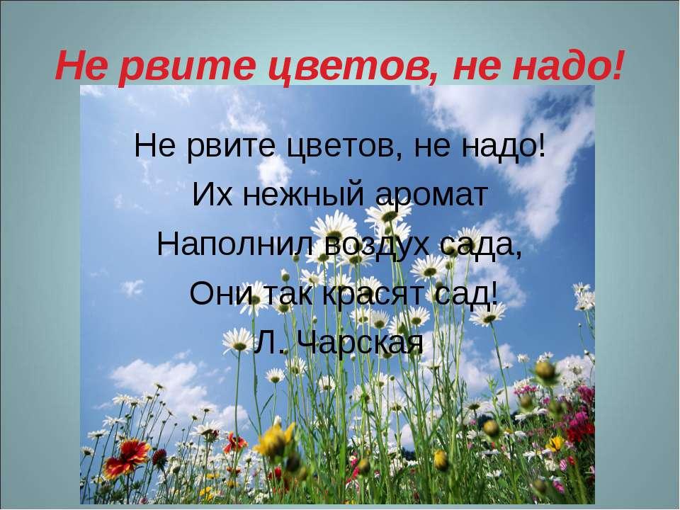 Не рвите цветов, не надо! Не рвите цветов, не надо! Их нежный аромат Наполнил...