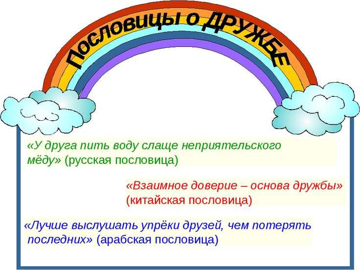 «У друга пить воду слаще неприятельского мёду»(русская пословица) «Взаимное ...
