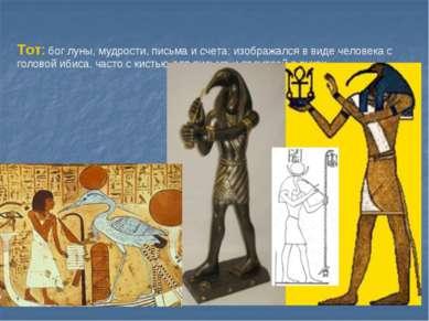 Тот: бог луны, мудрости, письма и счета; изображался в виде человека с голово...