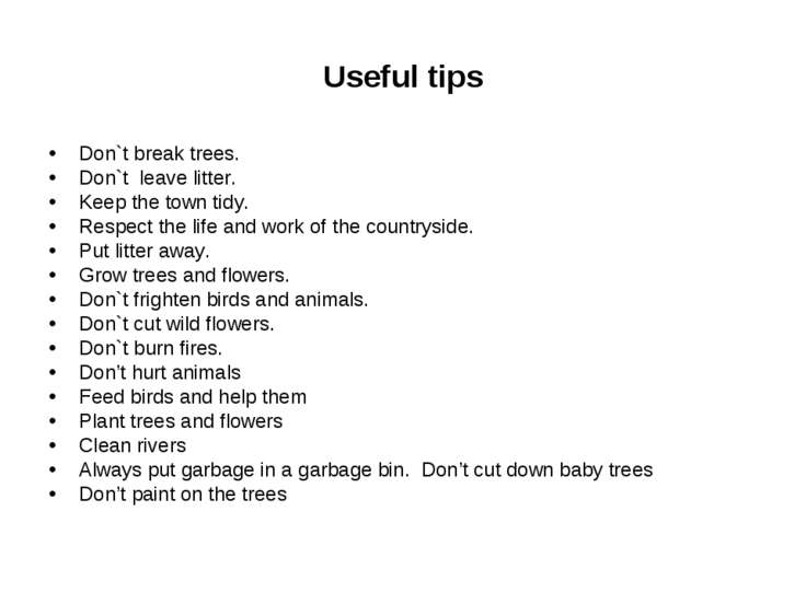 Useful tips Don`t break trees. Don`t leave litter. Keep the town tidy. Respec...