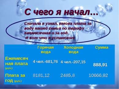 С чего я начал… Сначала я узнал, какова плата за воду нашей семьи по тарифу е...