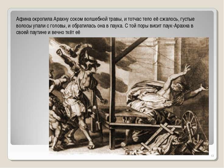 * Афина окропила Арахну соком волшебной травы, и тотчас тело её сжалось, густ...