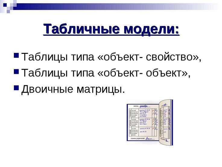 Табличные модели: Таблицы типа «объект- свойство», Таблицы типа «объект- объе...