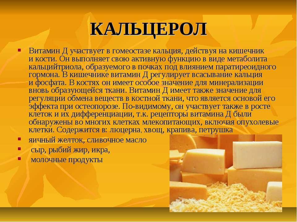 КАЛЬЦЕРОЛ Витамин Д участвует вгомеостазе кальция, действуя накишечник ико...