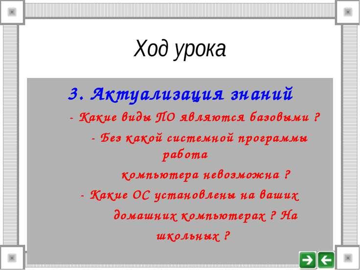 Ход урока 3. Актуализация знаний - Какие виды ПО являются базовыми ? - Без ка...