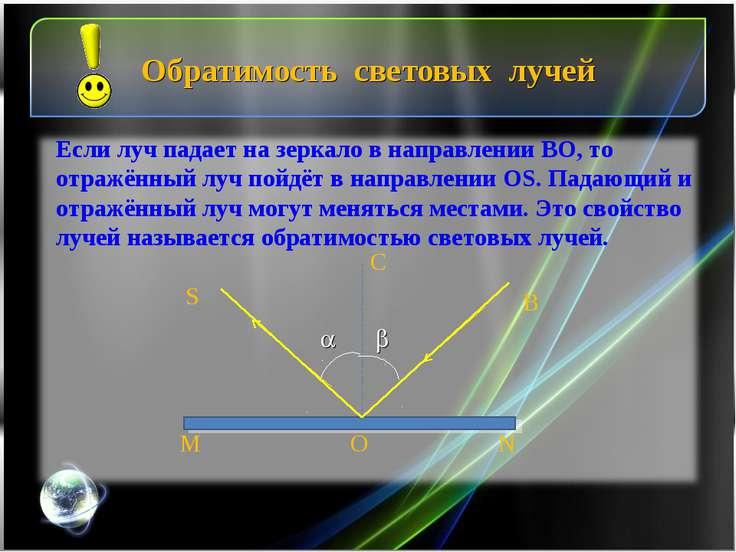 Обратимость световых лучей B S M N O C Если луч падает на зеркало в направлен...