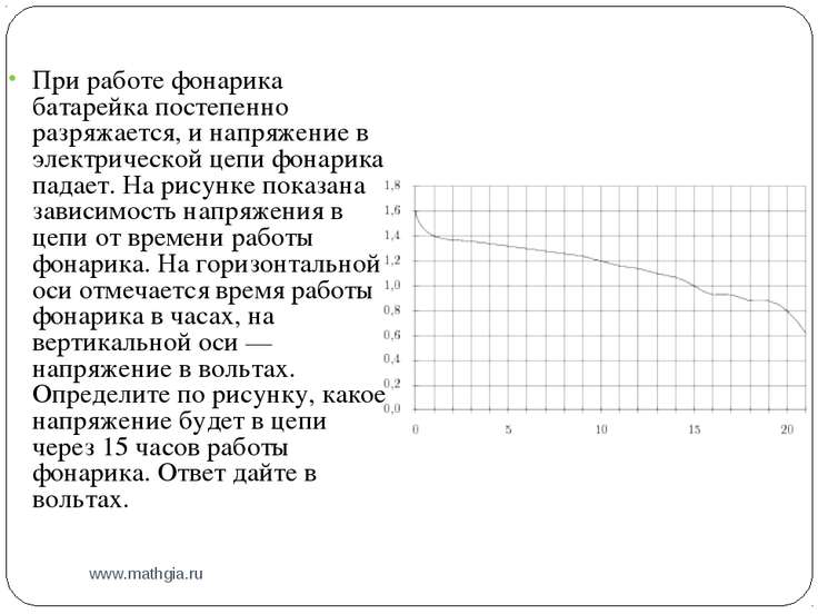 www.mathgia.ru При работе фонарика батарейка постепенно разряжается, и напряж...
