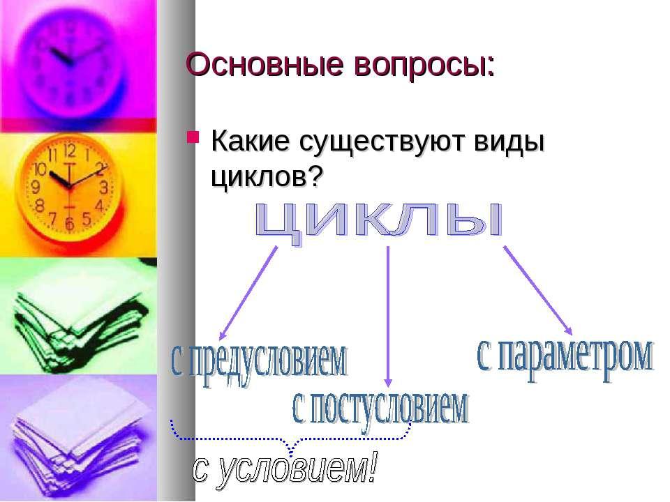 Основные вопросы: Какие существуют виды циклов?