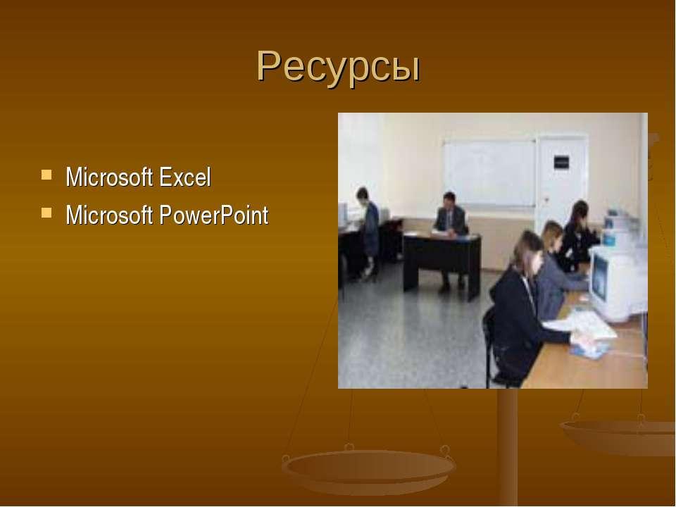 Ресурсы Microsoft Excel Microsoft PowerPoint