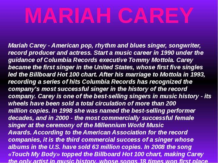 MARIAH CAREY Mariah Carey - American pop, rhythm and blues singer, songwriter...