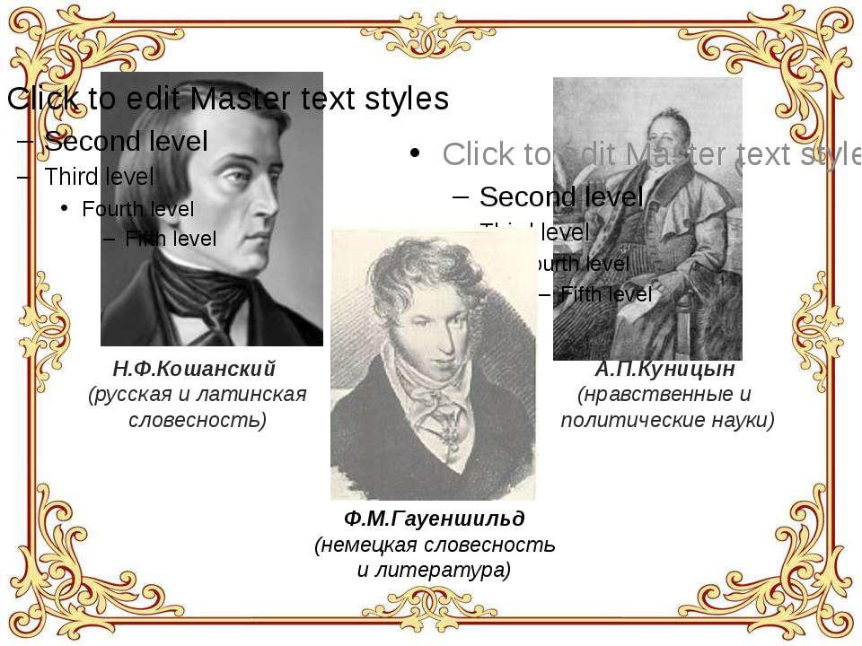 Н.Ф.Кошанский (русская и латинская словесность) А.П.Куницын (нравственные и п...
