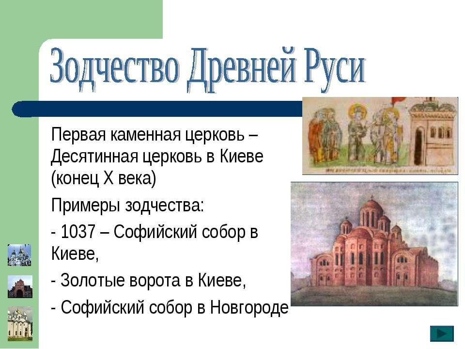 Первая каменная церковь – Десятинная церковь в Киеве (конец Х века) Примеры з...