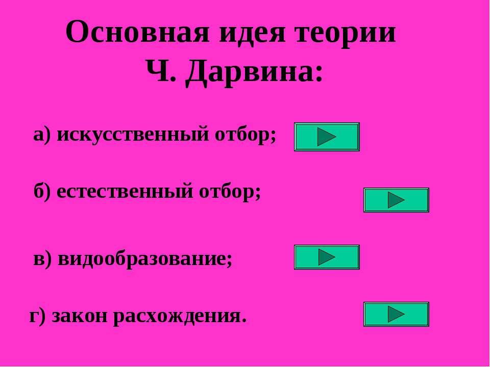 Основная идея теории Ч. Дарвина: а) искусственный отбор; б) естественный отбо...