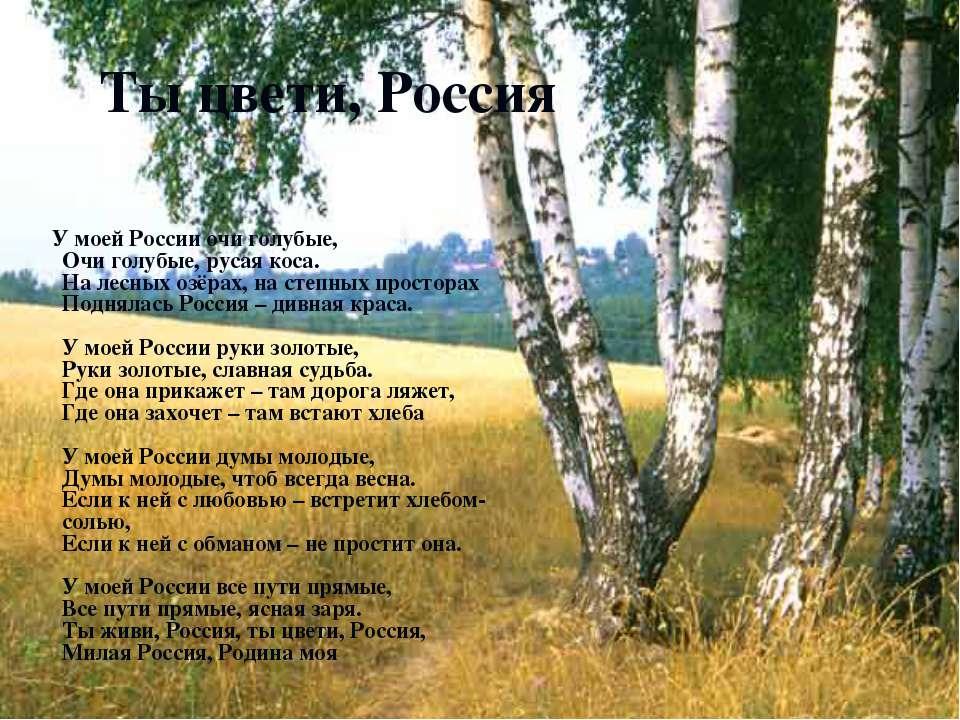 Ты цвети, Россия У моей России очи голубые, Очи голубые, русая коса. На лесны...