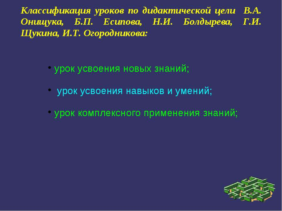 Классификация уроков по дидактической цели В.А. Онищука, Б.П. Есипова, Н.И. Б...