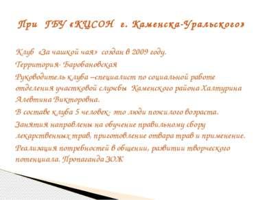 Клуб «За чашкой чая» создан в 2009 году. Территория- Баробановская Руководите...