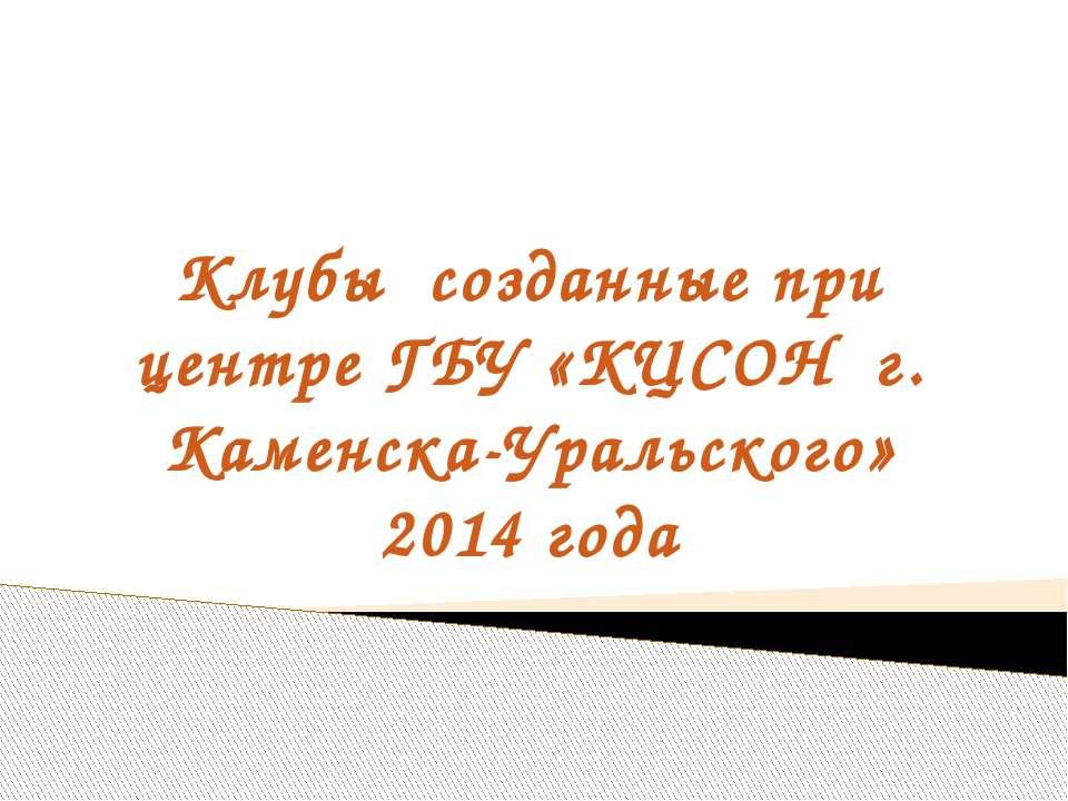 Клубы созданные при центре ГБУ «КЦСОН г. Каменска-Уральского» 2014 года