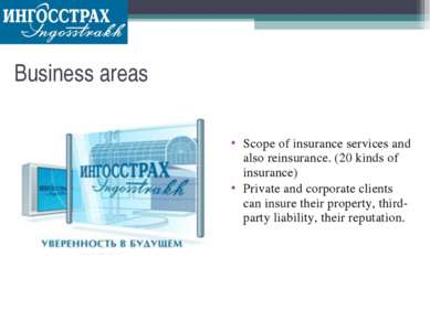 Business areas Scope of insurance services and also reinsurance. (20 kinds of...