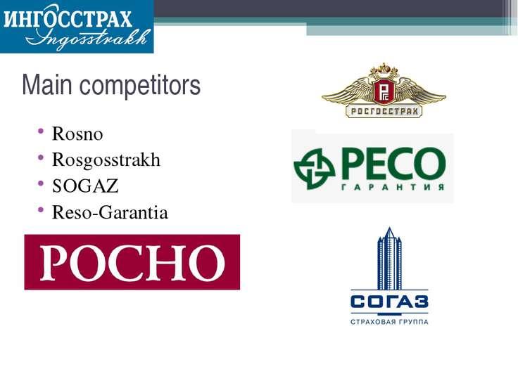 Main competitors Rosno Rosgosstrakh SOGAZ Reso-Garantia