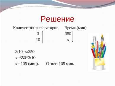 Решение Количество экскаваторов Время.(мин) 3 350 10 х 3:10=х:350 х=350*3:10 ...