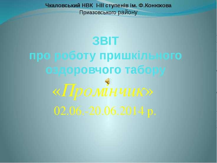 ЗВІТ про роботу пришкільного оздоровчого табору «Промінчик» 02.06.-20.06.2014...
