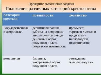 Проверите выполнение задания Положение различных категорий крестьянства Катег...