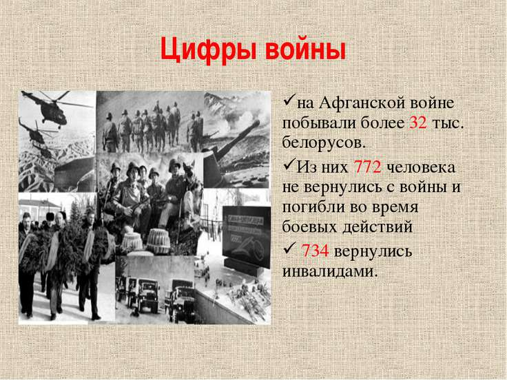 Цифры войны на Афганской войне побывали более 32 тыс. белорусов. Из них 772 ч...