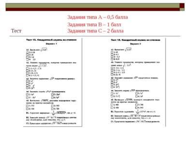 Задания типа А – 0,5 балла Задания типа В – 1 балл Тест Задания типа С – 2 балла