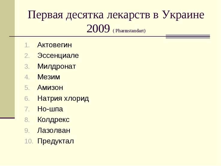 Первая десятка лекарств в Украине 2009 ( Pharmstandart) Актовегин Эссенциале ...