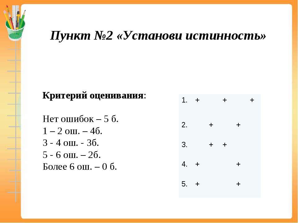 Критерий оценивания: Нет ошибок – 5 б. 1 – 2 ош. – 4б. 3 - 4 ош. - 3б. 5 - 6 ...