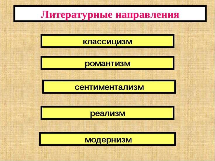 Литературные направления классицизм романтизм сентиментализм реализм модернизм