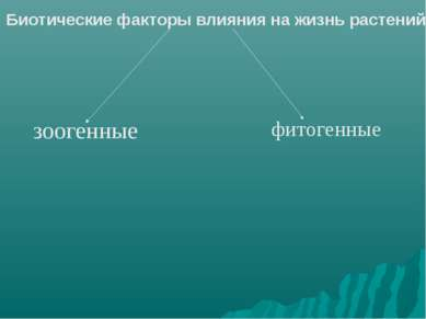 Биотические факторы влияния на жизнь растений зоогенные фитогенные