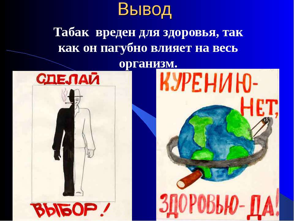 Вывод Табак вреден для здоровья, так как он пагубно влияет на весь организм.