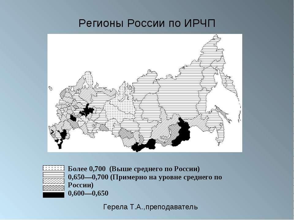 Регионы России по ИРЧП Более 0,700 (Выше среднего по России) 0,650—0,700(Пр...