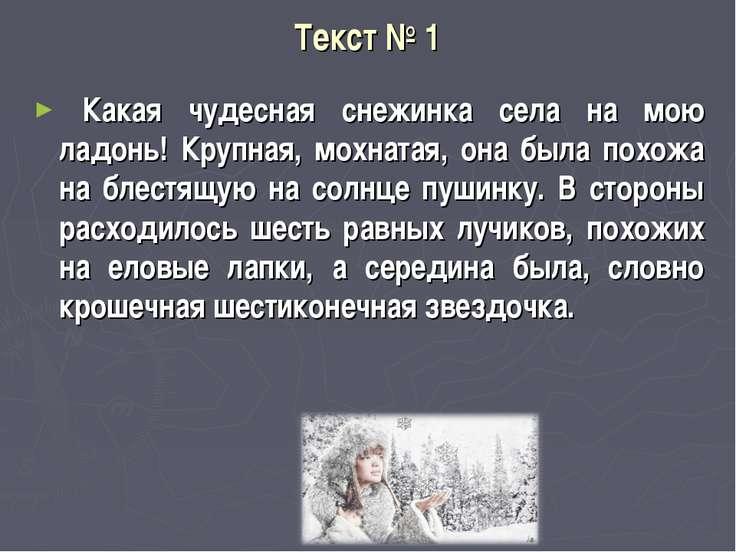 Текст № 1 Какая чудесная снежинка села на мою ладонь! Крупная, мохнатая, о...