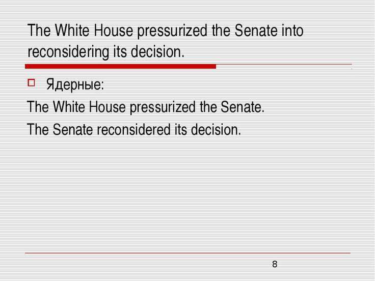 The White House pressurized the Senate into reconsidering its decision. Ядерн...