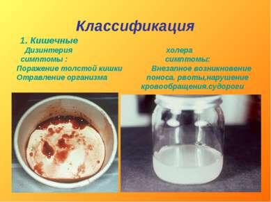 Классификация 1. Кишечные Дизинтерия холера симптомы : симптомы: Поражение то...