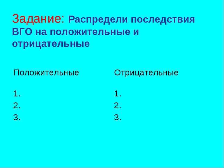 Задание: Распредели последствия ВГО на положительные и отрицательные