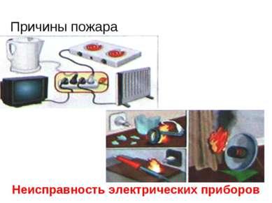 Причины пожара Неисправность электрических приборов