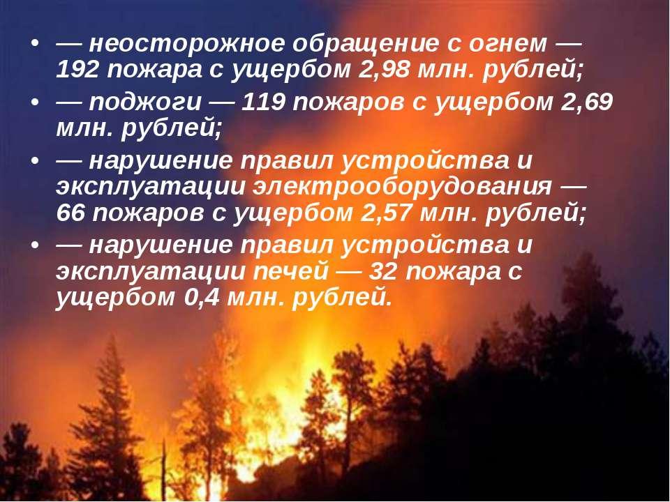 — неосторожное обращение с огнем — 192 пожара с ущербом 2,98 млн. рублей; — п...