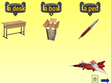 a desk a box a pen