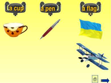 a cup a pen a flag