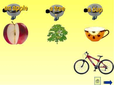 a cup a tree an apple