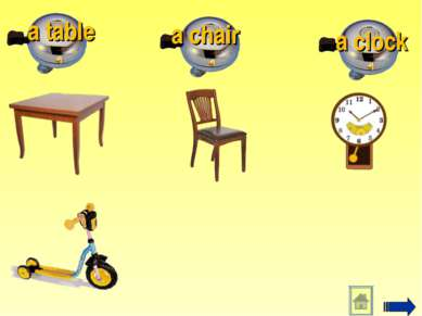 a clock a chair a table
